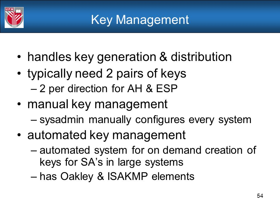 handles key generation & distribution typically need 2 pairs of keys