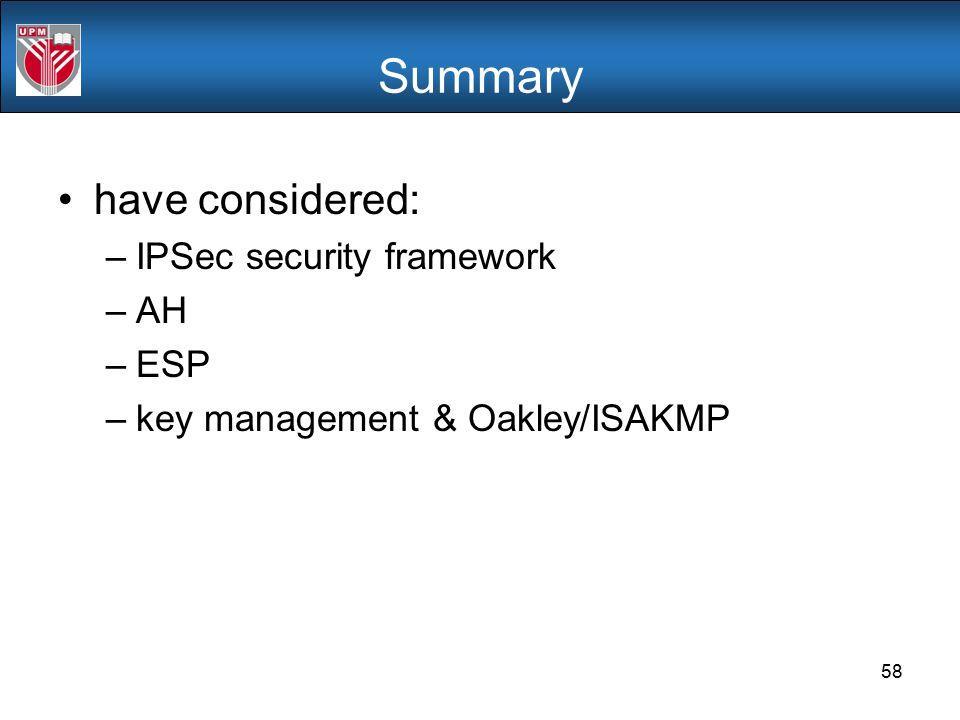 Summary have considered: IPSec security framework AH ESP