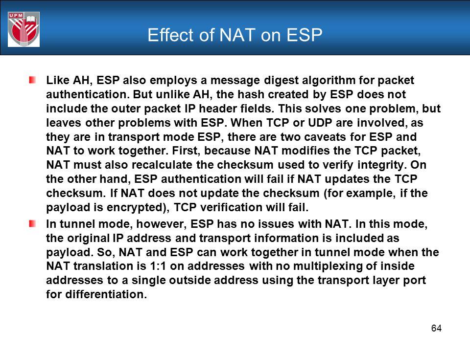 Effect of NAT on ESP