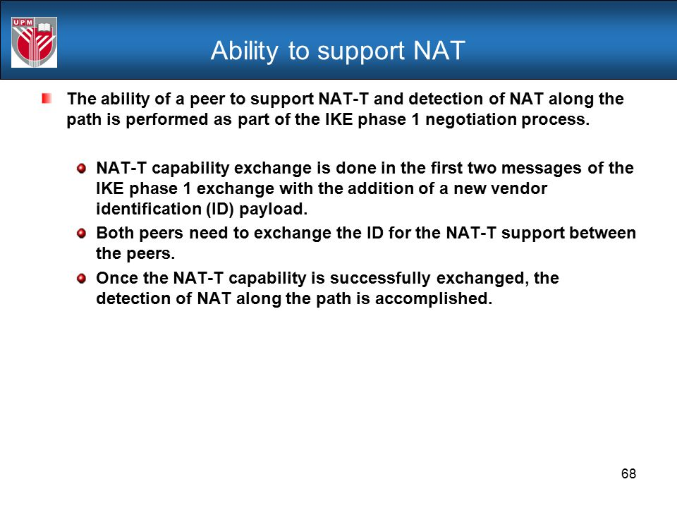 Ability to support NAT