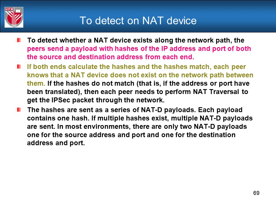 To detect on NAT device