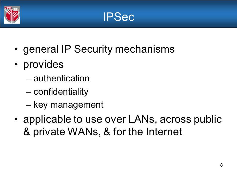 IPSec general IP Security mechanisms provides