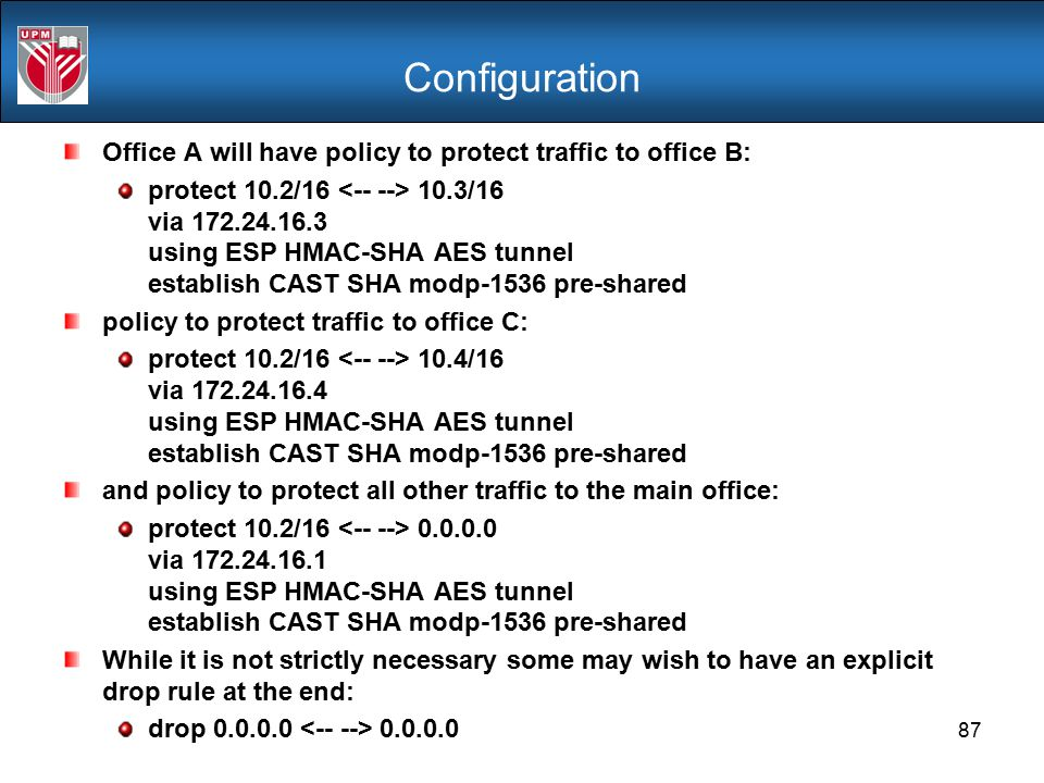 Configuration Office A will have policy to protect traffic to office B: