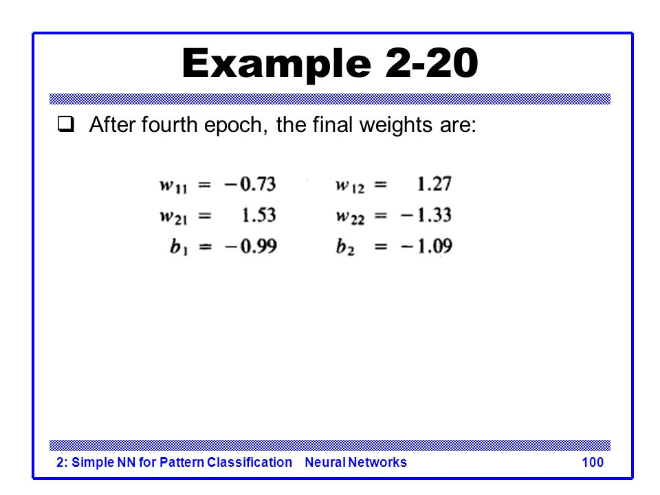 Example 2-20 After fourth epoch, the final weights are: