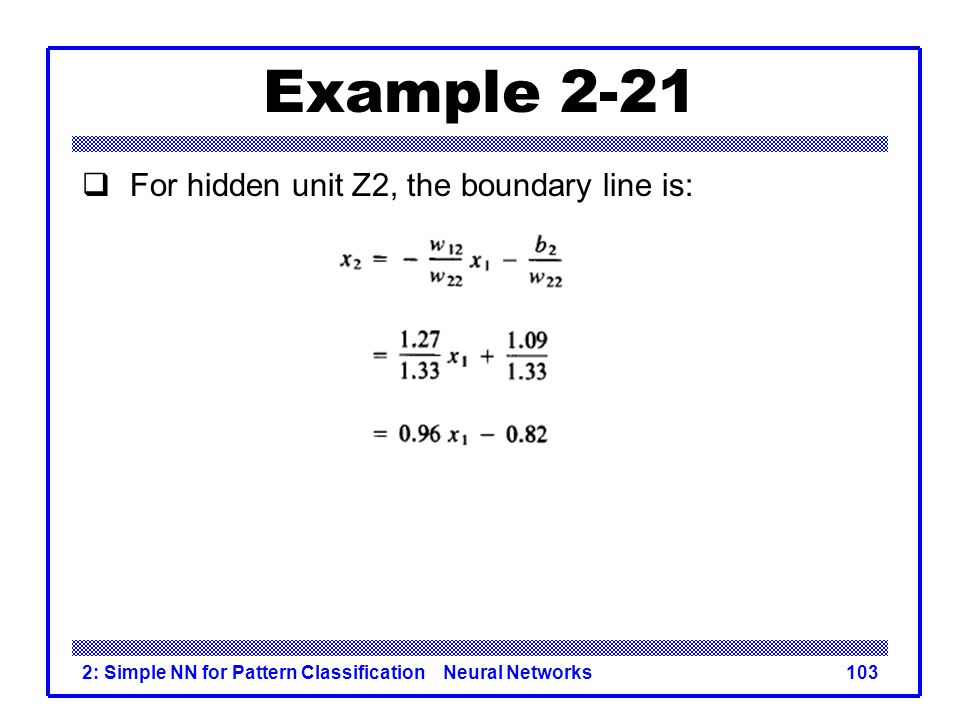 Example 2-21 For hidden unit Z2, the boundary line is: