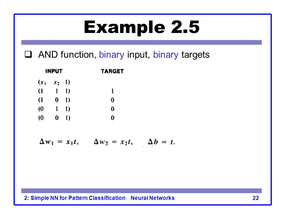 Example 2.5 AND function, binary input, binary targets