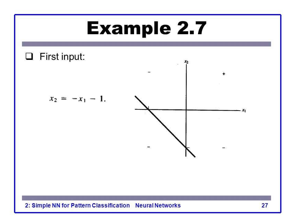 Example 2.7 First input: 2: Simple NN for Pattern Classification