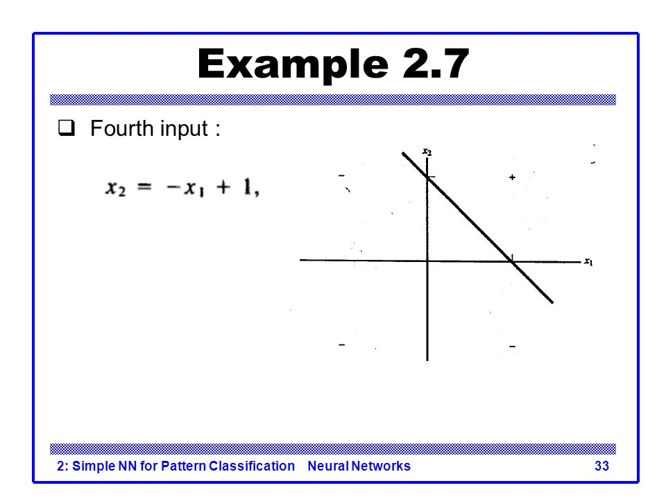 Example 2.7 Fourth input : 2: Simple NN for Pattern Classification