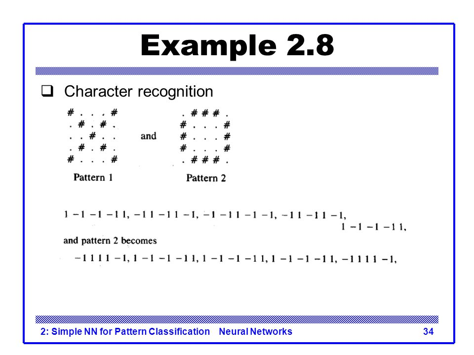 Example 2.8 Character recognition