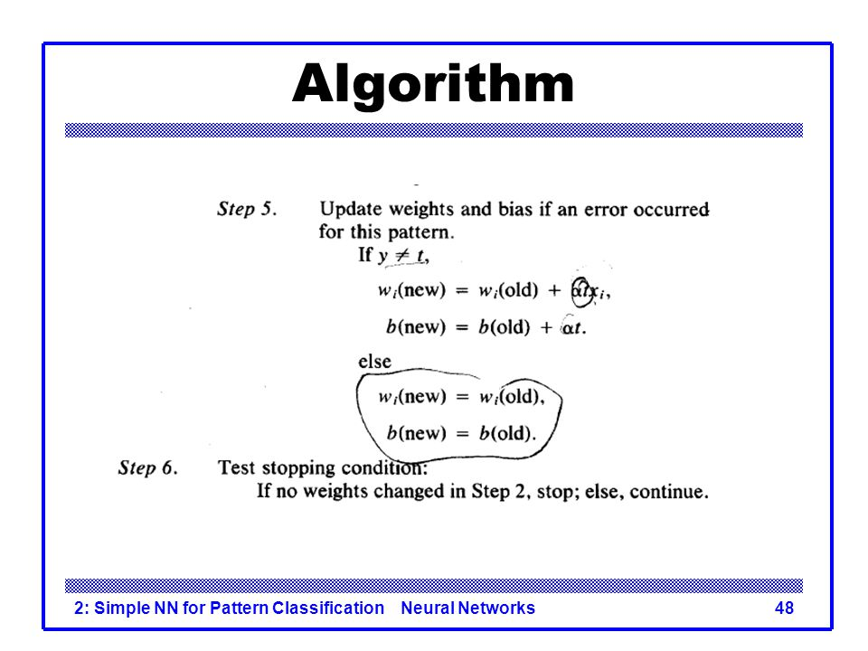 Algorithm 2: Simple NN for Pattern Classification