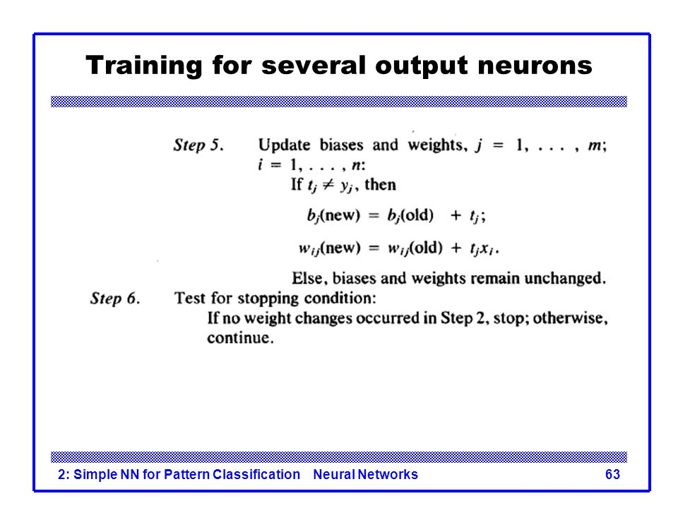 Training for several output neurons