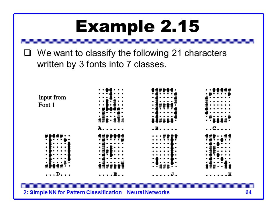Example 2.15 We want to classify the following 21 characters written by 3 fonts into 7 classes.