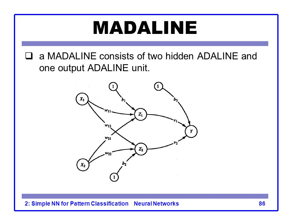 MADALINE a MADALINE consists of two hidden ADALINE and one output ADALINE unit.