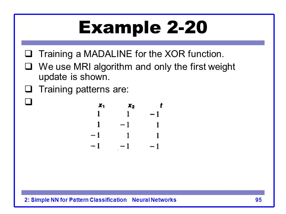 Example 2-20 Training a MADALINE for the XOR function.