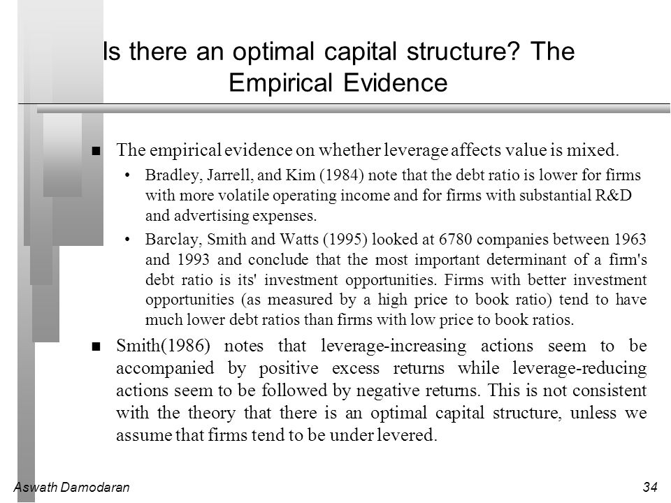 "empirical evidence of modigliani and miller theory Tions, the irrelevance theory of modigliani and miller (1958) can be considered as the ""big bang"" in the capital structure debate without doubt, the world of finance has changed since the publication of the irrelevance theory since then a vast number of competing theories and empirical research worldwide."
