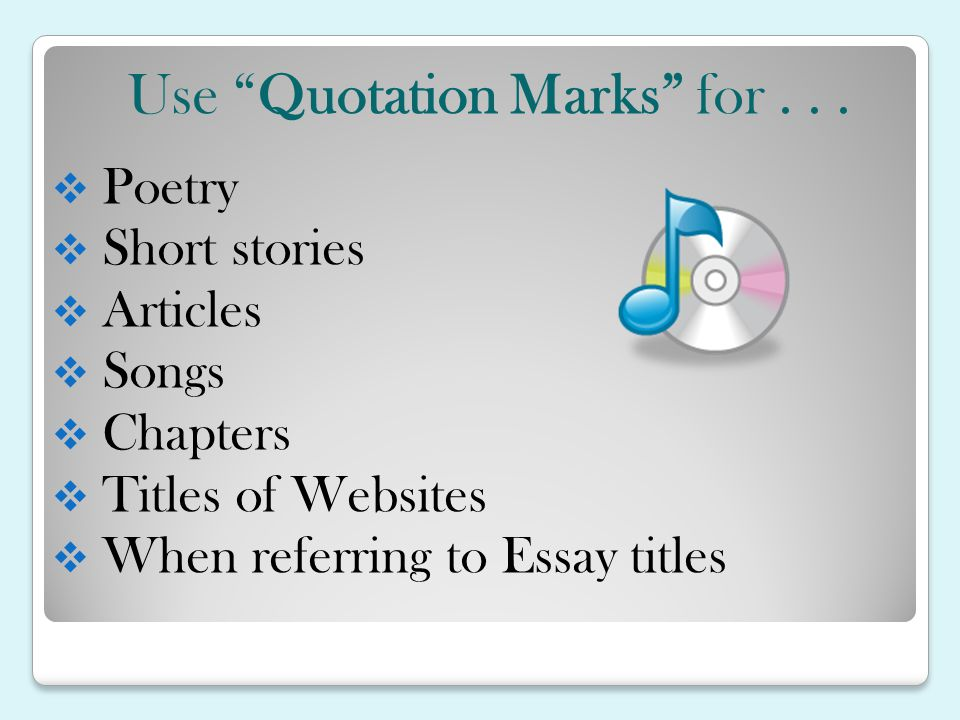 song titles in essays
