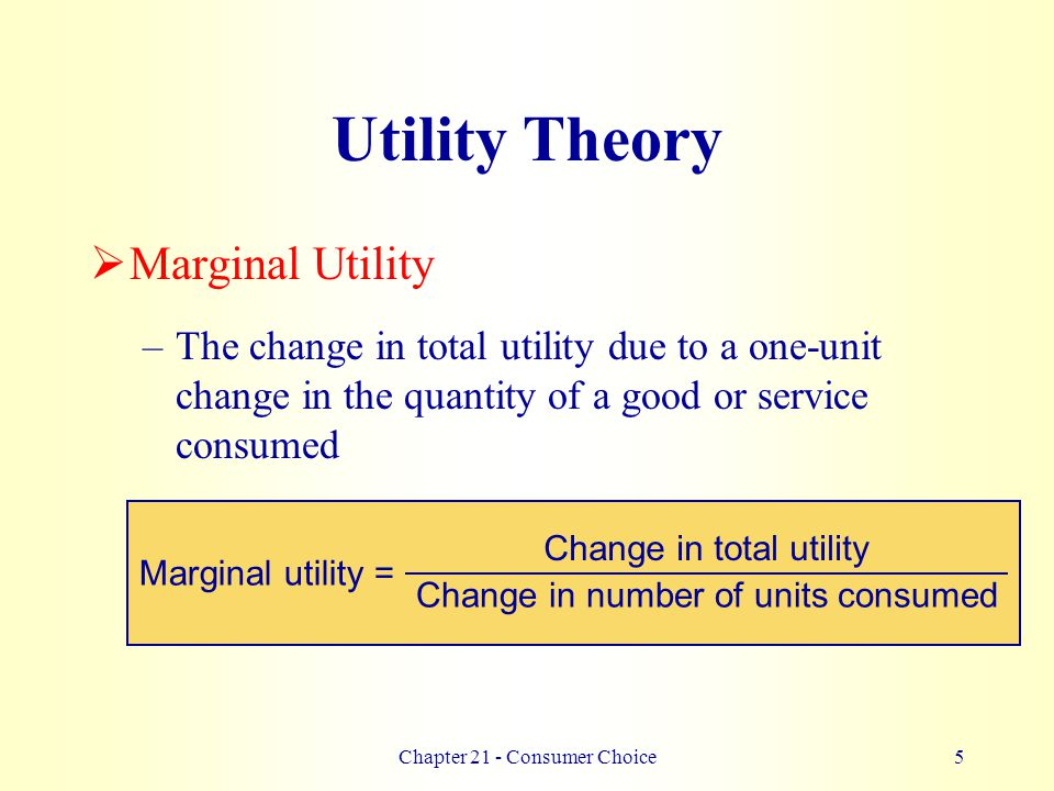 marginal utility theory The first approach is the marginal utility or cardinalist approach secondly, we get out ordinalist or indifference curve approach at the end of this section we shall consider samuelson's revealed preference approach.