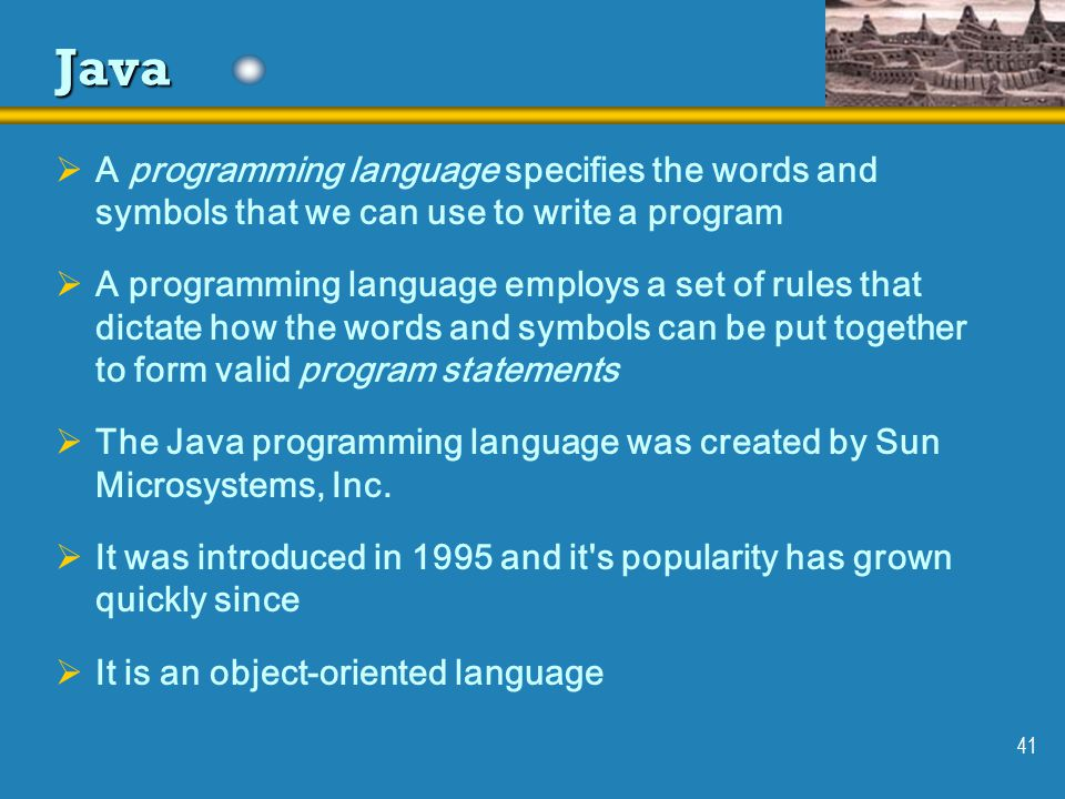 programming language and java Easy to follow step by step java programming tutorial  the video has been updated with new features of the language easy to follow step by step java programming tutorial buy the full 6 hour.