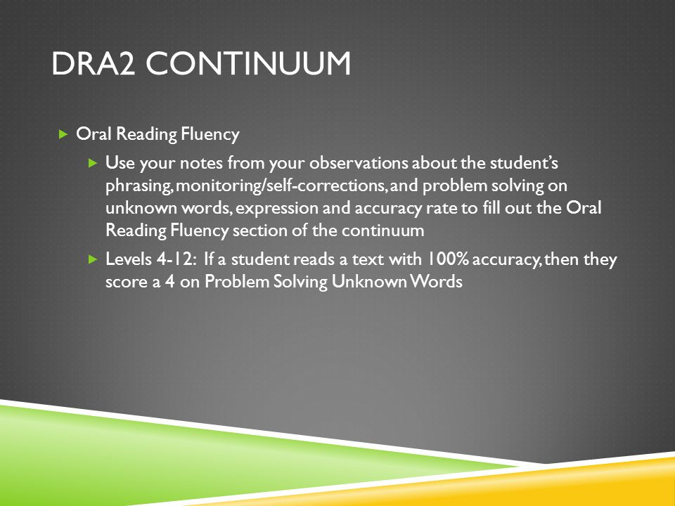 DRA2 Continuum Oral Reading Fluency