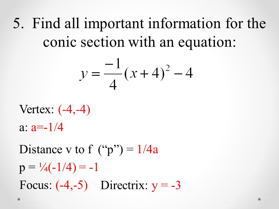 5. Find all important information for the conic section with an equation: