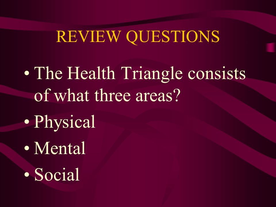 The Health Triangle consists of what three areas Physical Mental