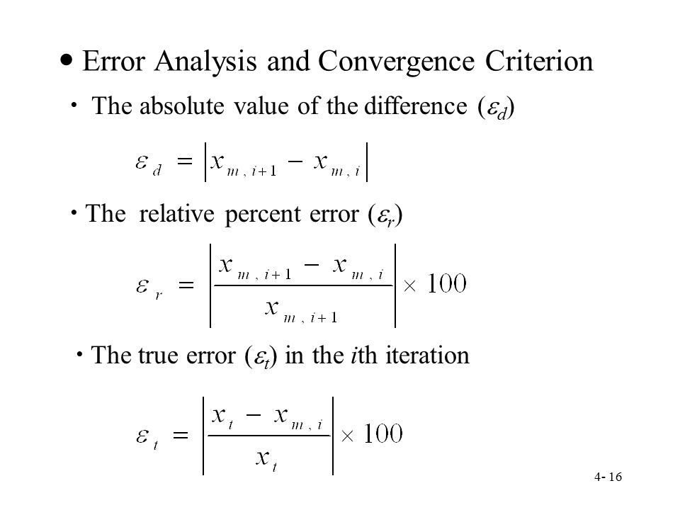  Error Analysis and Convergence Criterion