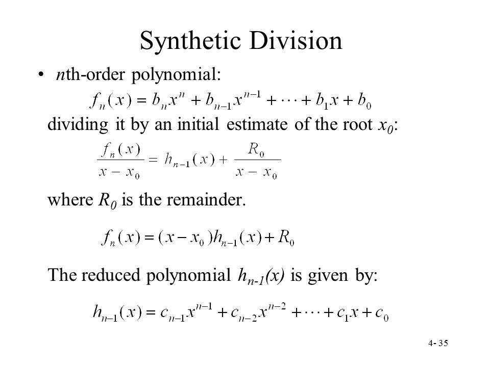 Synthetic Division nth-order polynomial: