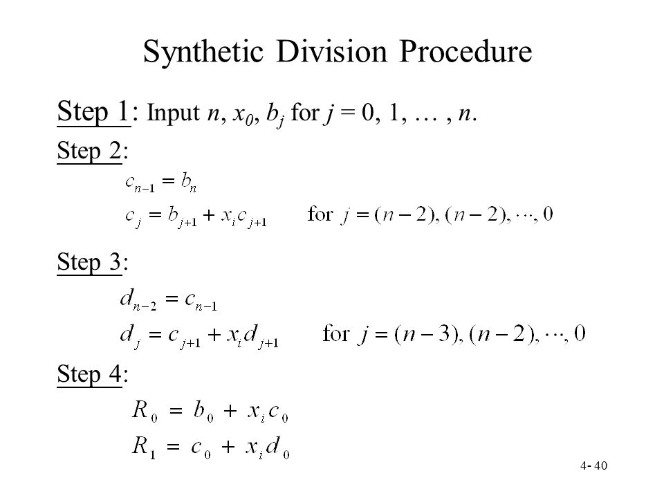 Synthetic Division Procedure
