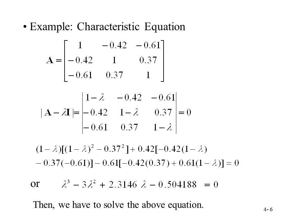 Example: Characteristic Equation