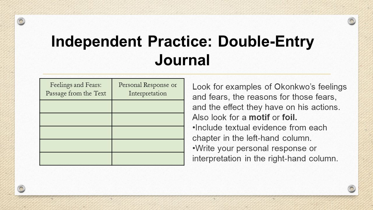 Independent Practice: Double-Entry Journal