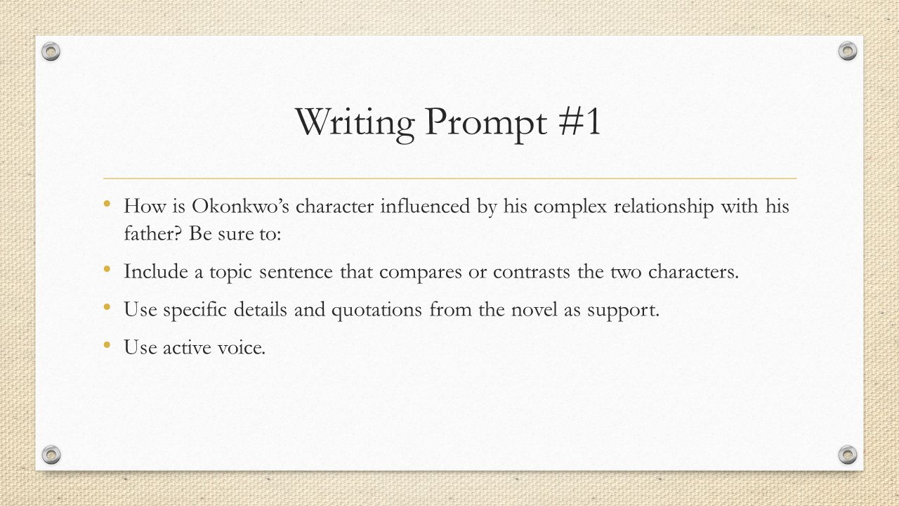 Writing Prompt #1 How is Okonkwo's character influenced by his complex relationship with his father Be sure to: