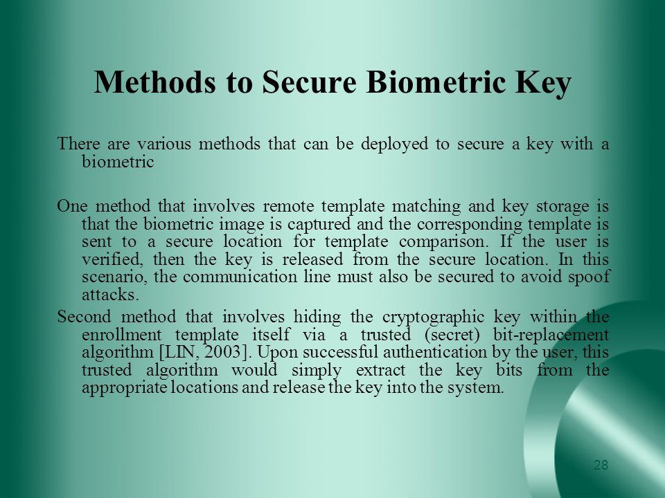 Methods to Secure Biometric Key