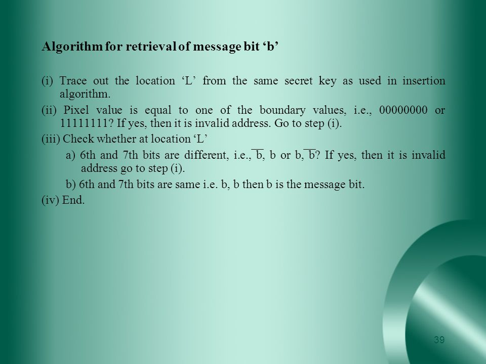 Algorithm for retrieval of message bit 'b'