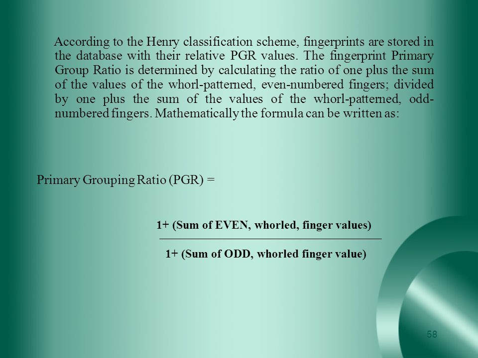 Primary Grouping Ratio (PGR) =