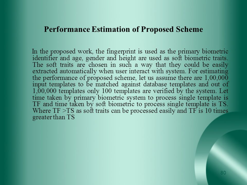 Performance Estimation of Proposed Scheme