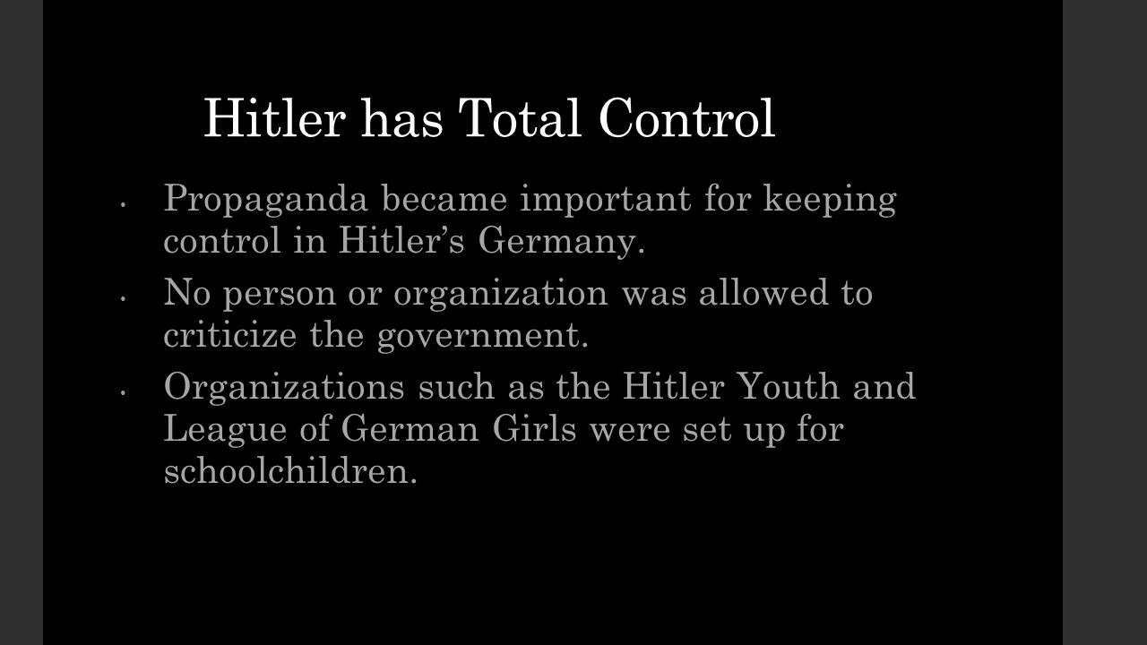 Hitler has Total Control