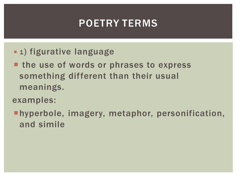 Poetry Terms 1 Figurative Language Ppt Video Online Download