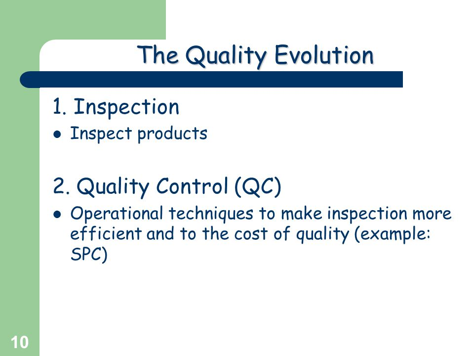 The Quality Evolution 1. Inspection 2. Quality Control (QC)