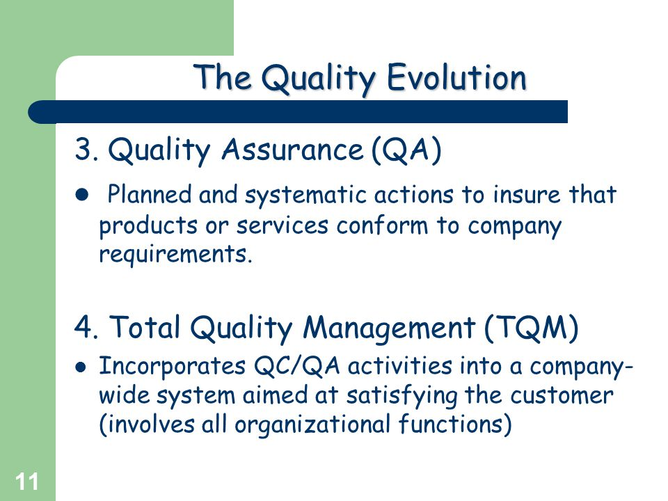 The Quality Evolution 3. Quality Assurance (QA)
