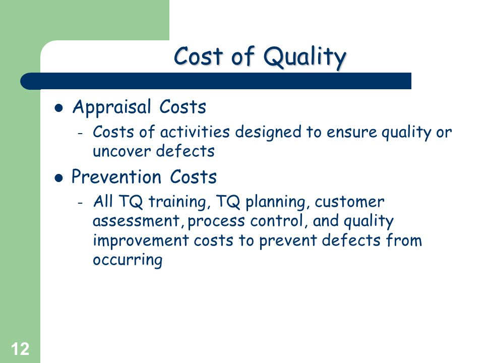 Cost of Quality Appraisal Costs Prevention Costs