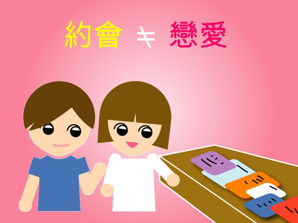 約會 = 戀愛 教師說明:教師總結:約會不等於談戀愛,此一健康的約會觀念在我國很欠缺。