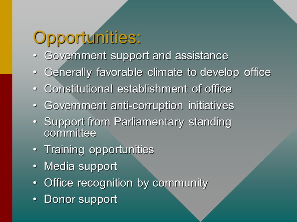 Opportunities: Government support and assistance
