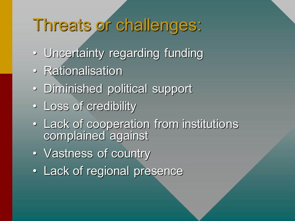 Threats or challenges: