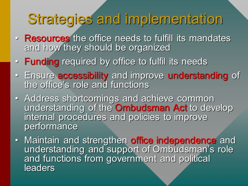 Strategies and implementation
