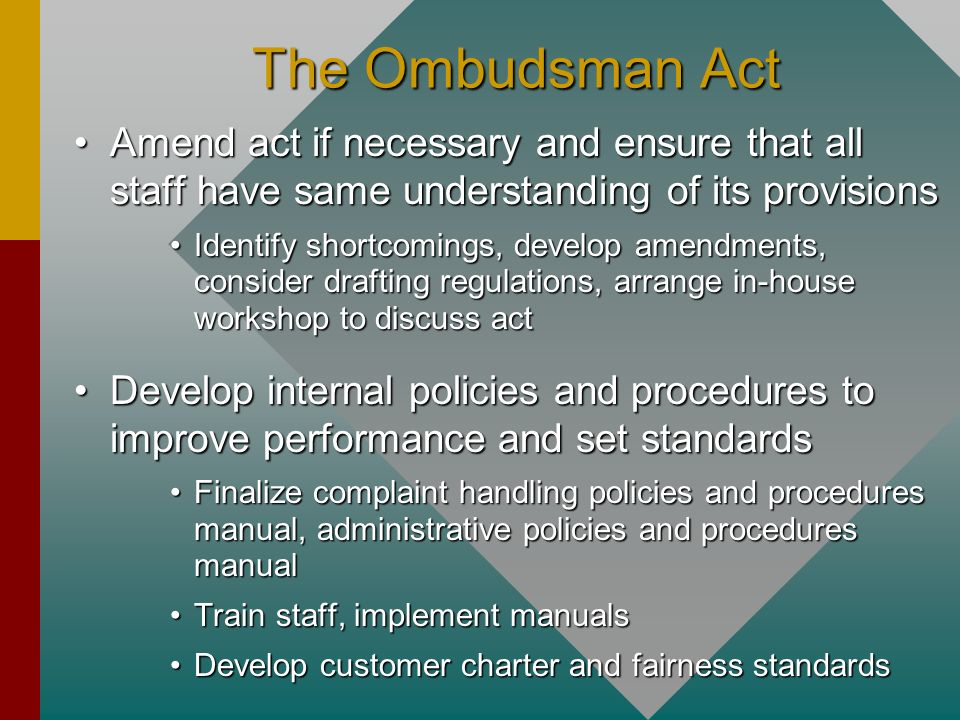 The Ombudsman ActAmend act if necessary and ensure that all staff have same understanding of its provisions.
