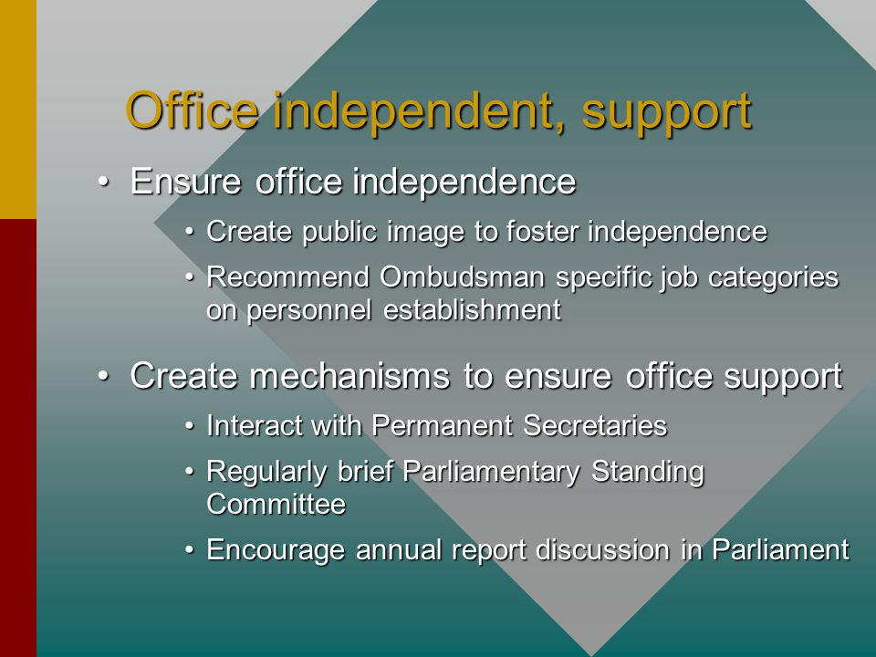 Office independent, support