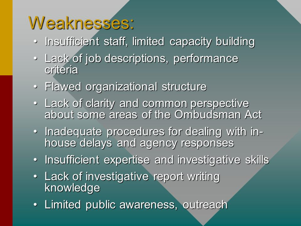 Weaknesses: Insufficient staff, limited capacity building
