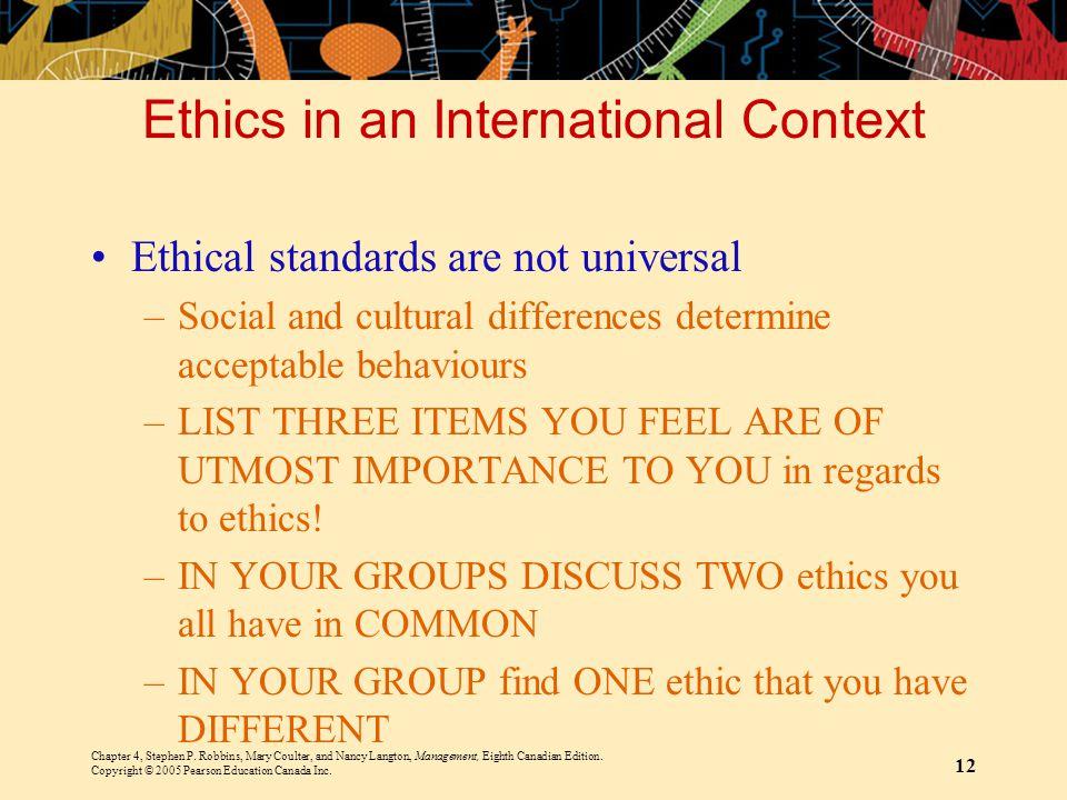 Ethics in an International Context
