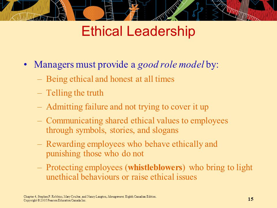 Ethical Leadership Managers must provide a good role model by: