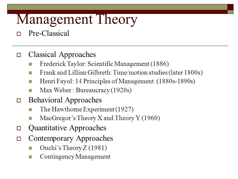 Management Theory Pre-Classical Classical Approaches